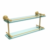 Allied Brass WP-2/22-GAL-UNL Waverly Place 22 Inch Double Glass Shelf with Gallery Rail, Unlacquered Brass