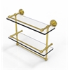 Allied Brass WP-2TB/16-GAL-UNL 16 Inch Gallery Double Glass Shelf with Towel Bar, Unlacquered Brass