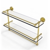 Allied Brass WP-2TB/22-GAL-UNL 22 Inch Gallery Double Glass Shelf with Towel Bar, Unlacquered Brass