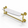 Allied Brass WP-33TB/18-UNL Waverly Place Collection 18 Inch  Glass Vanity Shelf  with Integrated Towel Bar, Unlacquered Brass