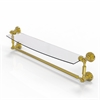 Allied Brass WP-33TB/24-UNL Waverly Place Collection 24 Inch  Glass Vanity Shelf  with Integrated Towel Bar, Unlacquered Brass
