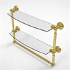 Allied Brass WP-34TB/18-UNL Waverly Place Collection 18 Inch Two Tiered Glass Shelf with Integrated Towel Bar, Unlacquered Brass