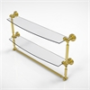 Allied Brass WP-34TB/24-UNL Waverly Place Collection 24 Inch Two Tiered Glass Shelf with Integrated Towel Bar, Unlacquered Brass