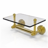 Allied Brass WP-GLT-24-UNL Waverly Place Collection Two Post Toilet Tissue Holder with Glass Shelf, Unlacquered Brass