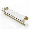 Allied Brass WS-1TB/22-UNL Washington Square Collection 22 Inch  Glass Vanity Shelf  with Integrated Towel Bar, Unlacquered Brass