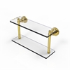Allied Brass WS-2/16-UNL Washing Square Collection 16 Inch Two Tiered Glass Shelf, Unlacquered Brass