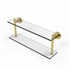 Allied Brass WS-2/22-UNL Washing Square Collection 22 Inch Two Tiered Glass Shelf, Unlacquered Brass