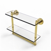 Allied Brass WS-2TB/16-UNL Washington Square Collection 16 Inch Two Tiered Glass Shelf with Integrated Towel Bar, Unlacquered Brass