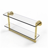 Allied Brass WS-2TB/22-UNL Washington Square Collection 22 Inch Two Tiered Glass Shelf with Integrated Towel Bar, Unlacquered Brass