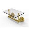 Allied Brass WS-GLT-24-UNL Washington Square Collection Two Post Toilet Tissue Holder with Glass Shelf, Unlacquered Brass