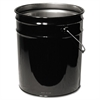 Freund Open Head Steel Pail, 5gal, Black, Unlined