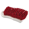 "Scrub Brush, Red Polypropylene Fill, 6"" Long, White"