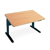 "48""x30"" Single Surface Rectangular Height Adjustable Table, Maple Hp Laminate, Black T-mold/Pvc, Black Paint"