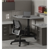 "42""x24"" Single Surface Corner Height Adjustable Table, Speckled Gray Matrix Tf Laminate, Ice Gray T-mold/Pvc, Black Paint"