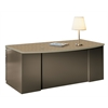 "72""x39"" Bowfront Desk with B/B/F Pedestal, Desert Sage Paint, Classic Rock Hp Laminate, Taupe T-mold/Pvc"