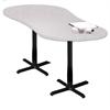 """72"""" Peanut Dining Height Table - Black Base, Folkstone  Lpl Tf Laminate, Black T-mold/Pvc, Black Paint"""