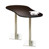 """72"""" Peanut Bar Height Table - Stainless Steel Base, Anthracite Tf Laminate, Black T-mold/Pvc, Stainless Steel Paint"""