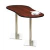"72"" Peanut Bar Height Table - Stainless Steel Base, Regal Mahogany Tf Laminate, Black T-mold/Pvc, Stainless Steel Paint"