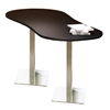 """72"""" Peanut Dining Height Table - Stainless Steel Base, Anthracite Tf Laminate, Black T-mold/Pvc, Stainless Steel Paint"""