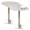 "72"" Peanut Dining Height Table - Stainless Steel Base, Folkstone  Lpl Tf Laminate, Black T-mold/Pvc, Stainless Steel Paint"