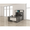"""U Shaped Right Handed 72"""" Desk System with Bridge, Credenza, Box/Box/File and File/File Pedestal and 72"""" Non-Handed Hutch"""