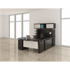 "U Shaped Right Handed 72"" Desk System with Bridge, Credenza, Box/Box/File and File/File Pedestal and 72"" Non-Handed Hutch"