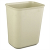 Rubbermaid Commercial Fire-Resistant Wastebasket, Rectangular, Fiberglass, 1.75gal, Beige