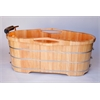"AB1163 61"" Free Standing Oak Wood Bath with Cushion Headrest"