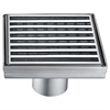 "5"" x 5"" Square Stainless Steel Shower Drain with Groove Lines"