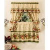 Apple Orchard Cottage Window Curtain Set - 57x36 Tier Pair/57x36 Ruffled Topper with attached valance and tiebacks. - Antique