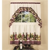 Chardonnay - Printed Tier and Swag Window Curtain Set - 57x36 - Burgundy