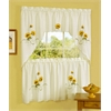 Achim Sunshine Embellished Tier and Swag Window Curtain Set - 58x24 Tailored Tier Pair/58x36 Swag.