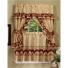 Sunflower Cottage Window Curtain Set - 57x24 Tier Pair/57x36 Ruffled Topper with attached valance and tiebacks. - Antique