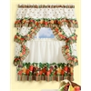 Tuttie Fruitie Cottage Window Curtain Set - 57x24 Tier Pair/57x36 Ruffled Topper with attached valance and tiebacks. - Multi