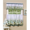 Achim Hamptons Printed Tier and Valance Window Curtain set 58x36 Tier Pair and 58x13  Valance - Sand