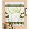 Achim Berkshire Embellished Cottage Window Curtain Set - 58x36 Tailored Tier Pair/58x36 Tailored Topper with attached swaggers and tiebacks. - Green