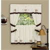 Cuppa Joe Embellished Cottage Window Curtain Set - 58x24 Tailored Tier Pair/58x36 Tailored Topper with attached swaggers and tiebacks. - Brown