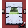 Achim Gourmet Embellished Cottage Window Curtain Set - 58x24 Tailored Tier Pair/58x36 Tailored Topper with attached swaggers and tiebacks. - Black