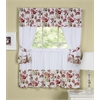 Achim Wisteria Embellished Cottage Window Curtain Set - 58x36 Tailored Tier Pair/58x36 Tailored Topper with attached swaggers and tiebacks. - Rose