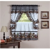 Achim Mason Jars Window Curtain Set - 57x36 Tier Pair/57x36 Tailored Topper with attached valance and tiebacks. - Black/White
