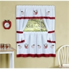 Gala Embellished Cottage Window Curtain Set - 58x36 Tailored Tier Pair/58x36 Tailored Topper with attached swaggers and tiebacks. - Rose