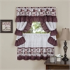 Achim Inspiration Cottage Window Curtain Set 57x24 Tier Pair/57x36 Ruffled Topper