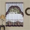 Woodlands - Printed Tier & Swag Window Curtain Set 57x36 - Brown