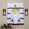 Cabernet Embellished Cottage Window Curtain Set 58x24 Tier Pair/ 58x36 Topper