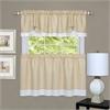 Darcy Window Curtain Tier and Valance Set 58x24/58x14 - Tan/White