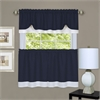 Darcy Window Curtain Tier and Valance Set 58x24/58x14 - Navy/White
