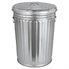 Magnolia Brush Pre-Galvanized Trash Can With Lid, Round, Steel, 20gal, Gray
