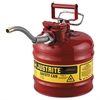 "Justrite AccuFlow Safety Can, Type II, 2gal, Red, 5/8"" Hose"