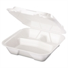 Genpak Snap It Foam Container, 3-Comp, 9 1/4 x 9 1/4 x 3, White, 100/Bag, 2 Bags/Carton