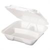 Snap It Foam Container, 3-Comp, 9 1/4 x 9 1/4 x 3, White, 100/Bag, 2 Bags/Carton